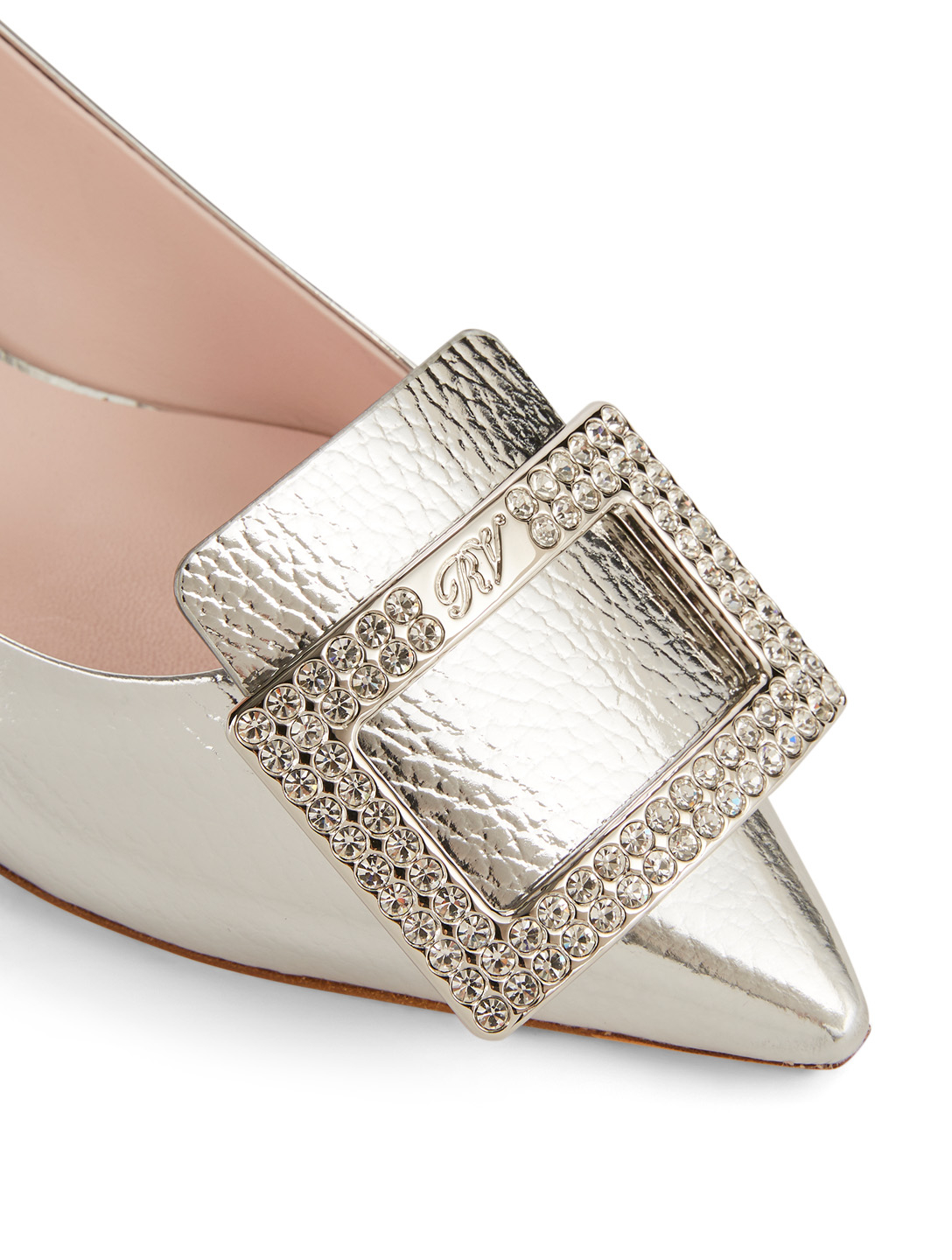 ROGER VIVIER Gommettine Leather Pumps With Strass Buckle Designers Silver