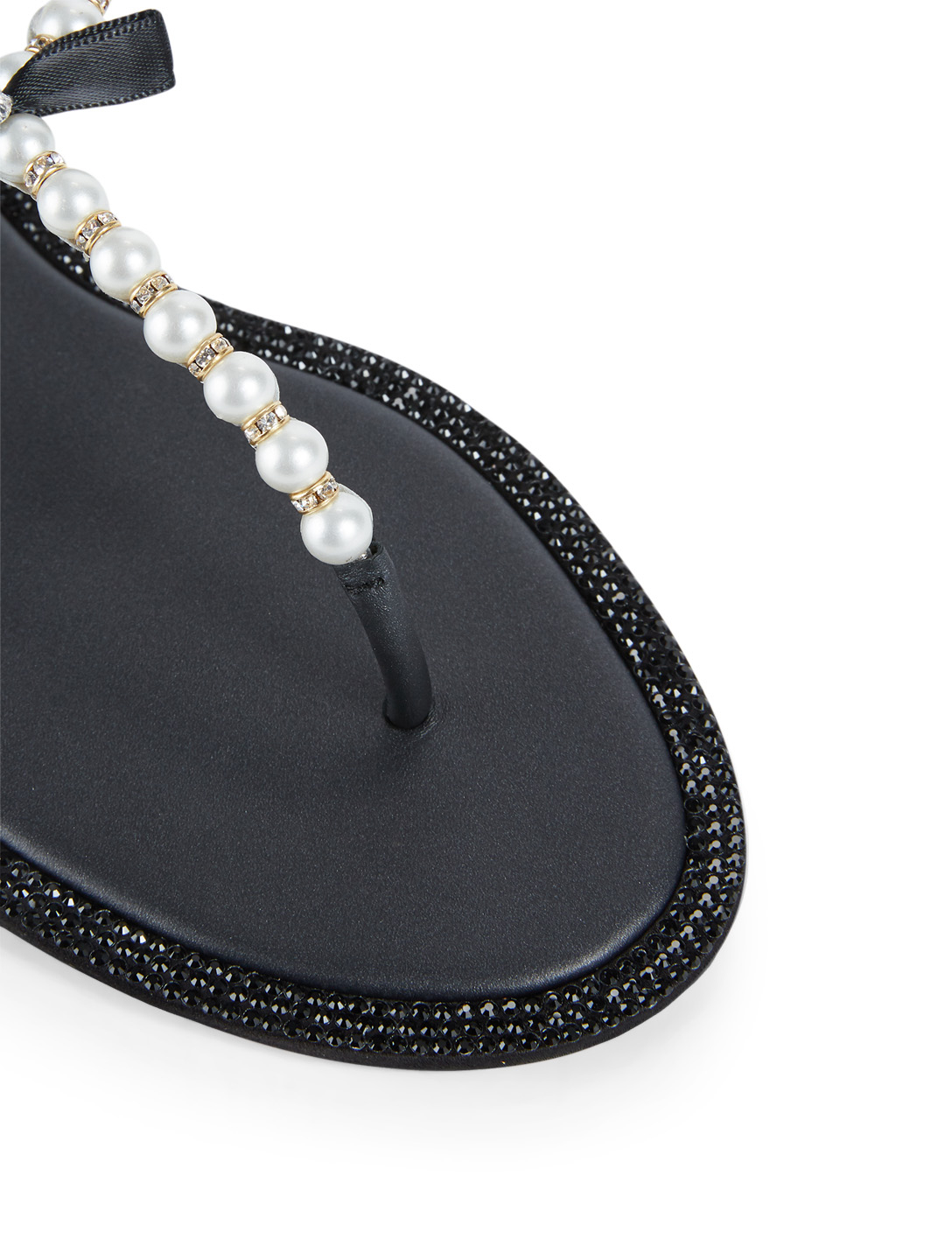 RENE CAOVILLA Eliza Flip Leather Sandals With Pearl And Crystal Straps Womens Black
