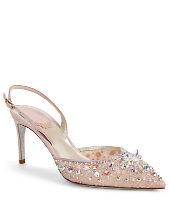 RENE CAOVILLA Lace Slingback Pumps With Crystals Womens Pink