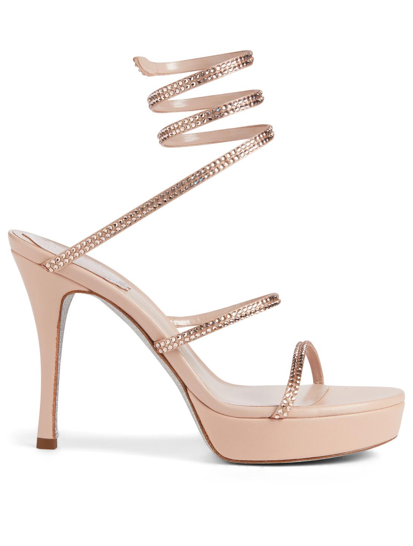 9b1fd52de29a RENE CAOVILLA Cleo Plato 100 Satin Strass Platform Sandals