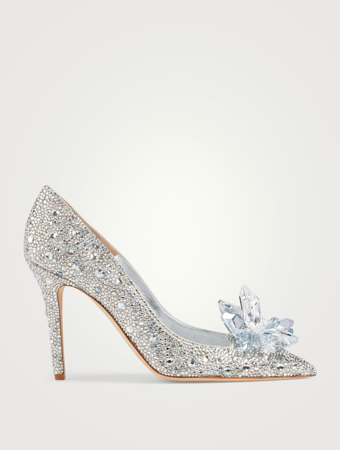 JIMMY CHOO Cinderella Edit Avril Crystal Pumps Womens Silver