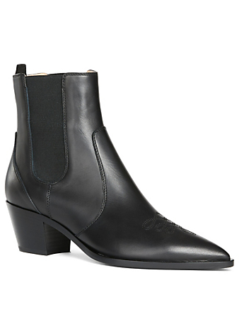 GIANVITO ROSSI Western Leather Ankle Boots Womens Black