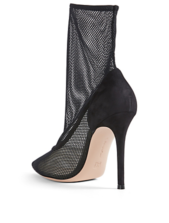 GIANVITO ROSSI Erin Mesh Sock Ankle Boots Womens Black