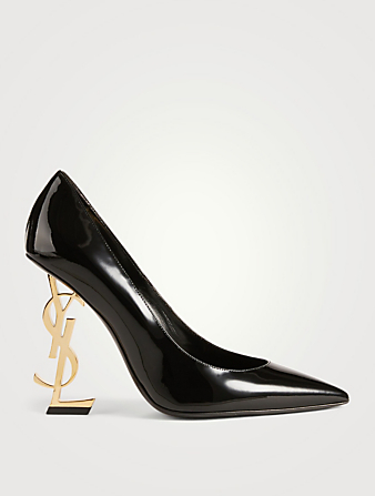 SAINT LAURENT Opyum 110 Patent Leather YSL Heeled Pumps Women's Black