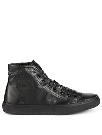 SAINT LAURENT Bedford Leather High-Top Sneakers Womens Black
