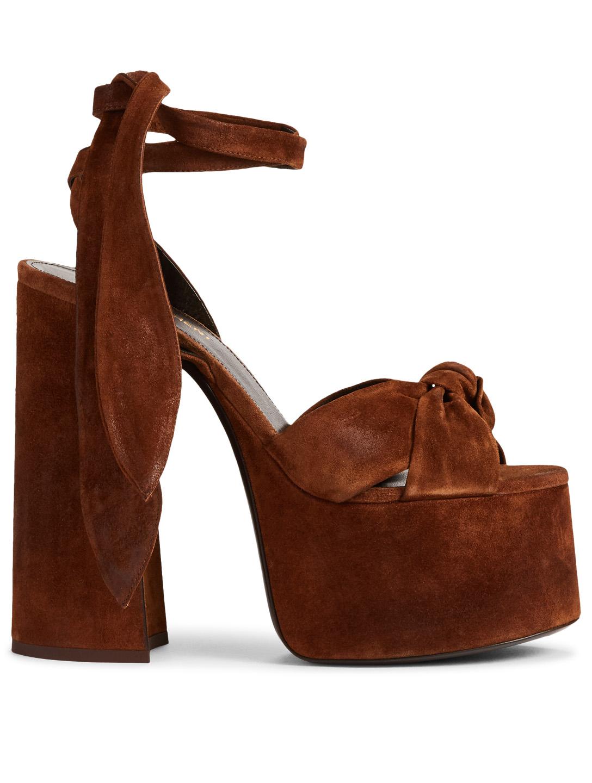 1ef9f1750f9 SAINT LAURENT Paige Suede Platform Sandals