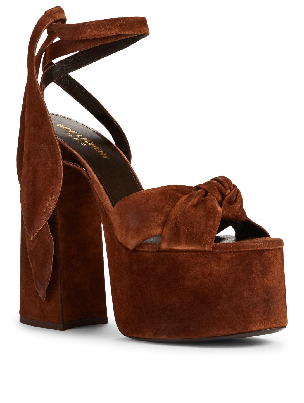 550b2a5716c ... SAINT LAURENT Paige Suede Platform Sandals Womens Brown ...
