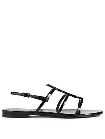 SAINT LAURENT Cassandra Patent Leather Sandals Women's Black