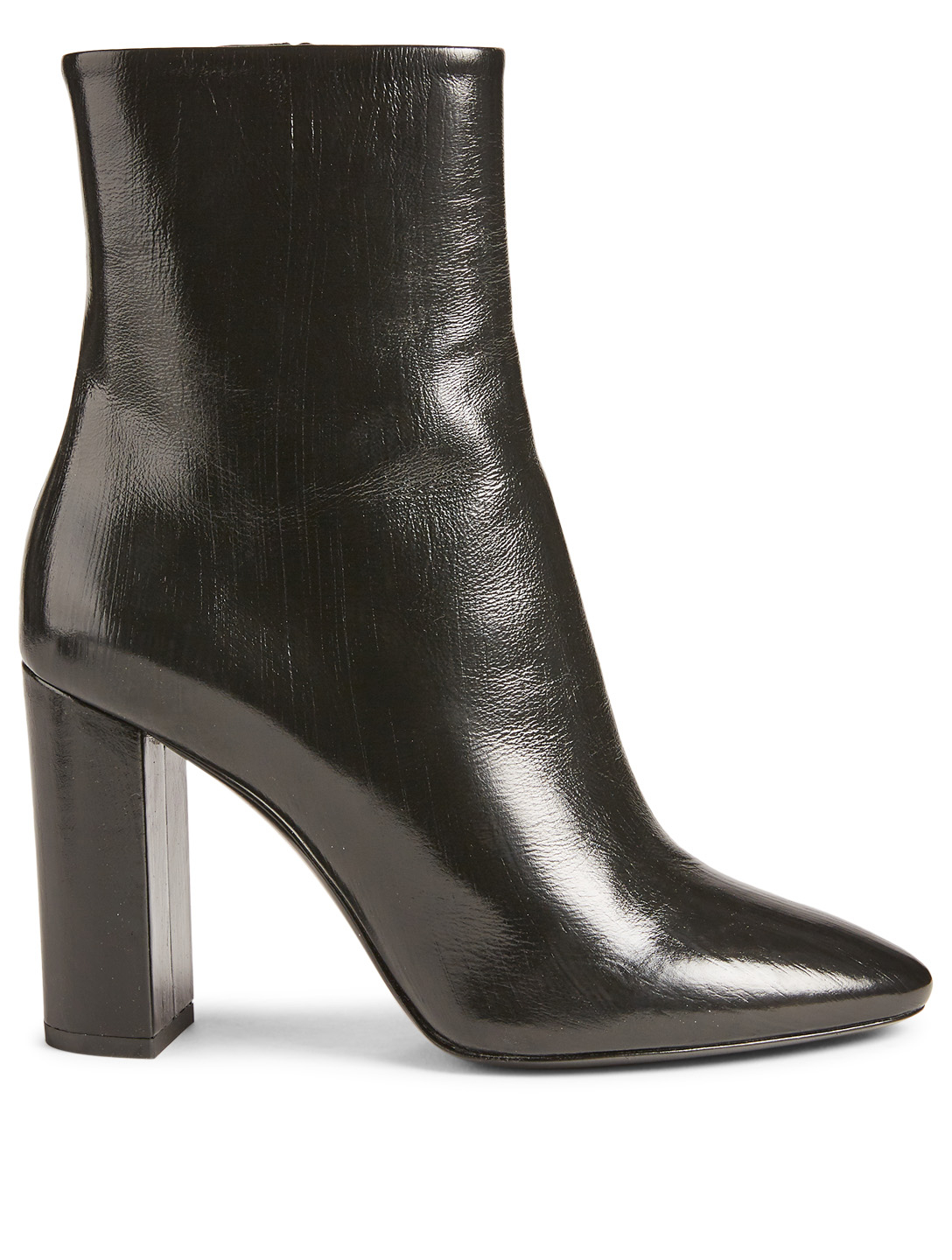 SAINT LAURENT Lou Patent Leather Ankle Boots Women's Black
