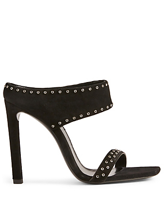 SAINT LAURENT Mica Suede Heeled Sandals Womens Black