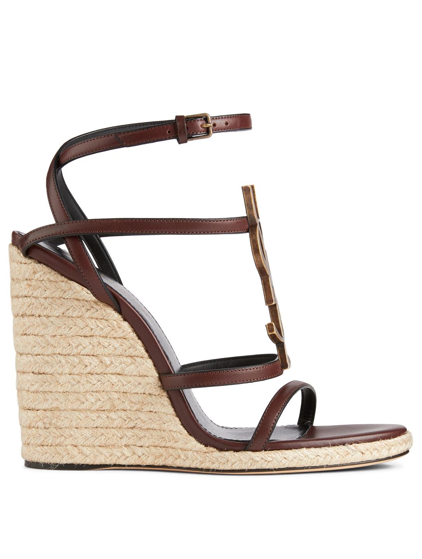 1ba11992bc4 SAINT LAURENT Cassandra Leather Espadrille Wedge Sandals