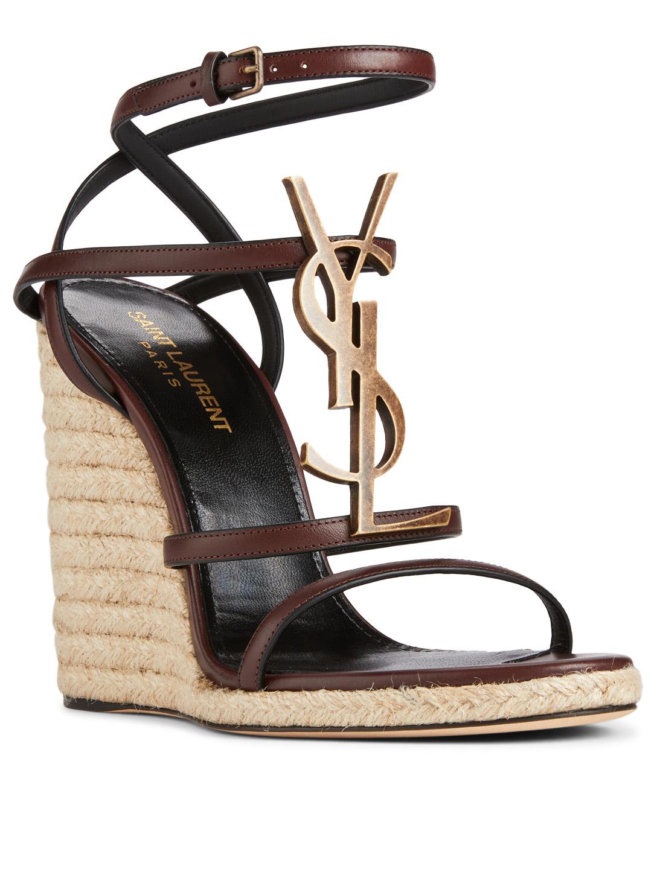 9891b04f11f ... SAINT LAURENT Cassandra Leather Espadrille Wedge Sandals Womens Brown  ...