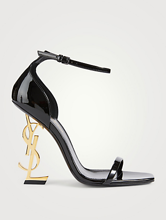 SAINT LAURENT Opyum 110 Patent Leather YSL Heeled Sandals Women's Black