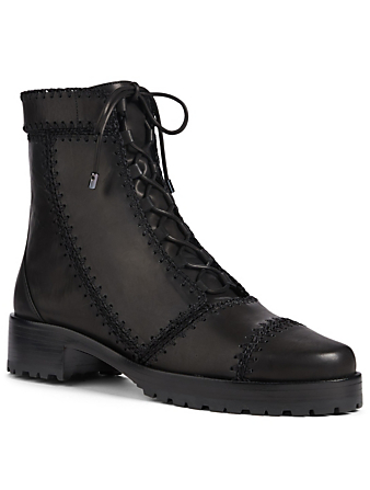 ALEXANDRE BIRMAN Regina Crochet Embroidered Leather Combat Boots Womens Black