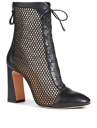 ALEXANDRE BIRMAN Shadow 90 Leather And Mesh Ankle Boots Womens Black