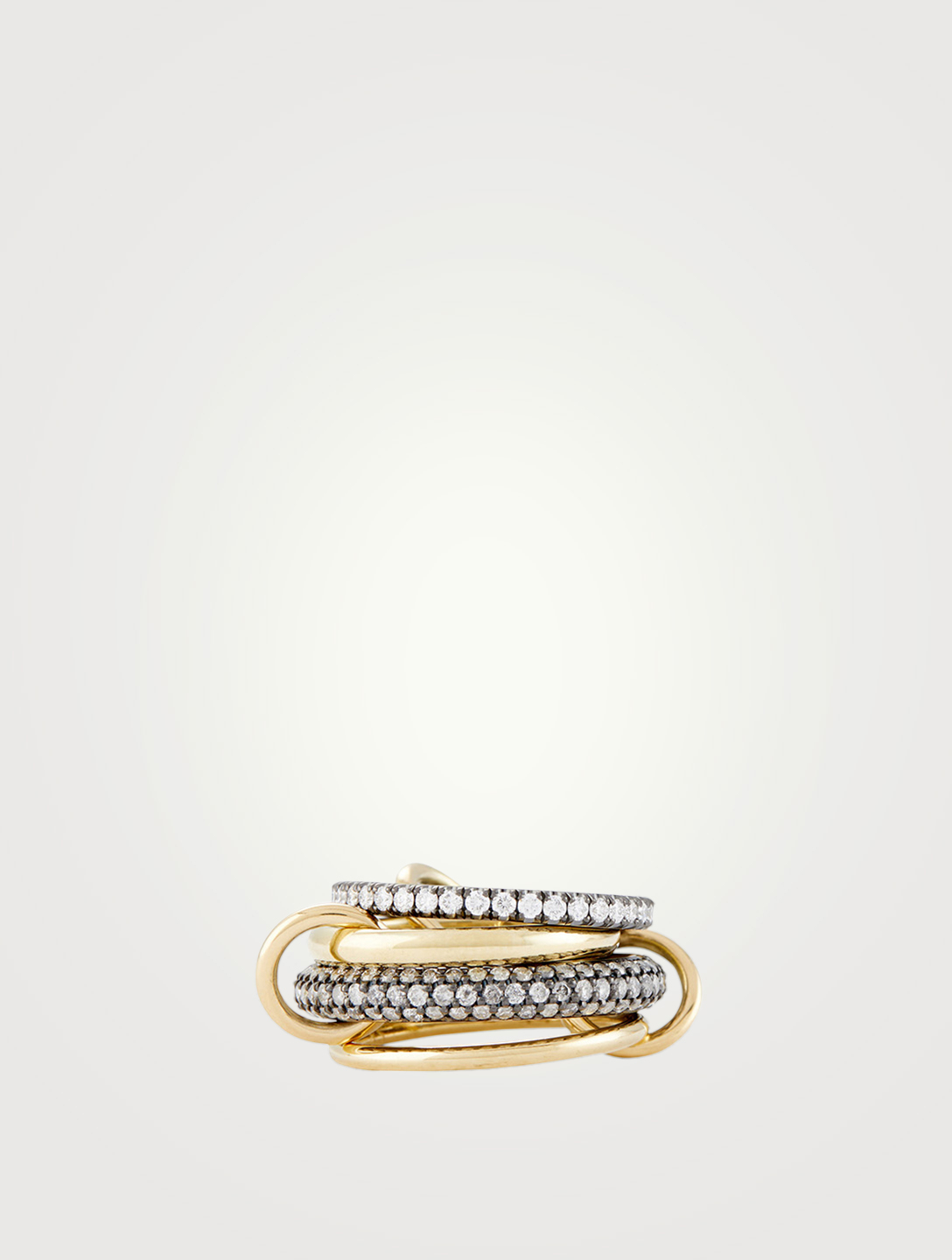 SPINELLI KILCOLLIN Vega 18K Gold And Black Rhodium-Plated Silver Linked Ring With Diamonds Women's Multi