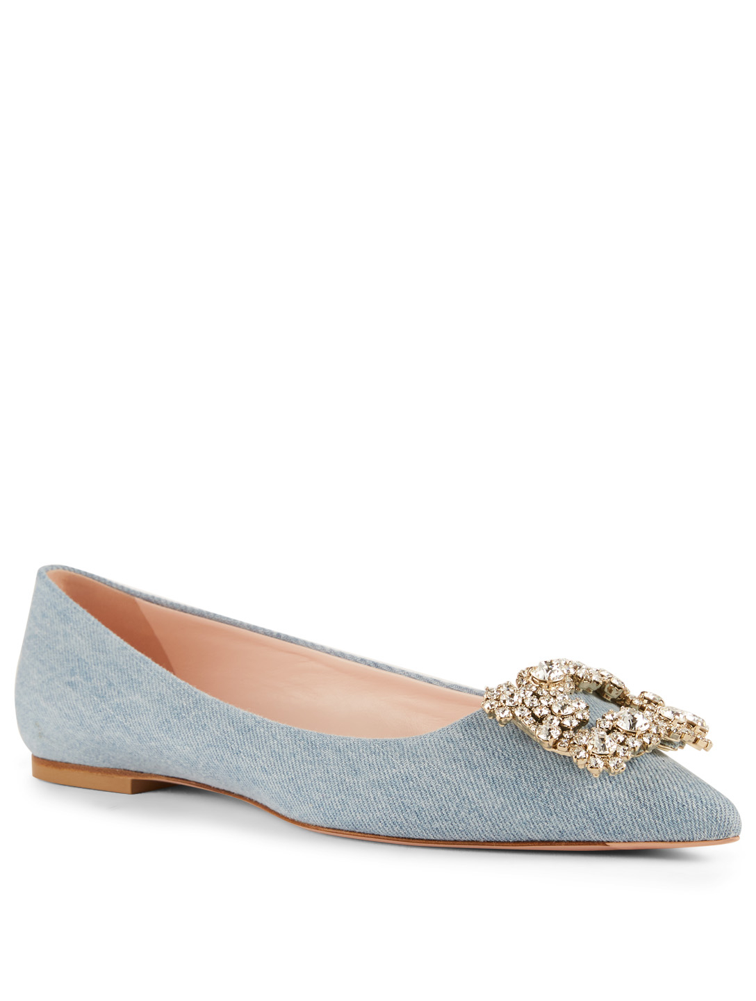 ROGER VIVIER Flower Strass Denim Ballet Flats Womens Blue