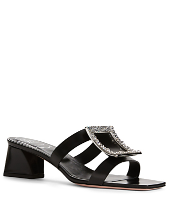 ROGER VIVIER Bikiviv Leather Strass Mule Sandals Women's Black