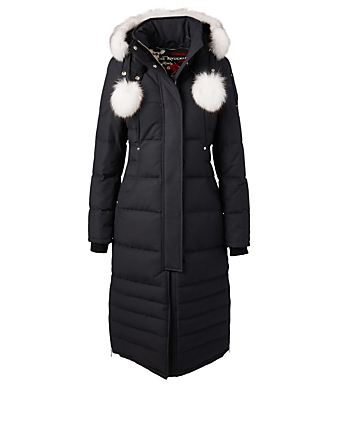 MOOSE KNUCKLES Saskatchewan Down Parka With Fur Hood Women's Blue