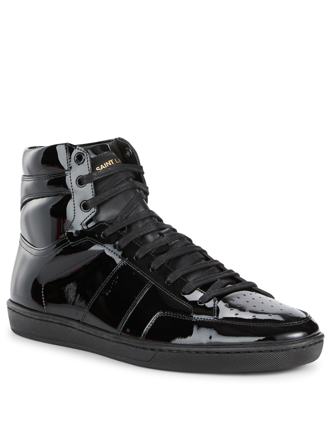 SAINT LAURENT Court Classic SL/10H  High-Top Patent Leather Sneakers Men's Black