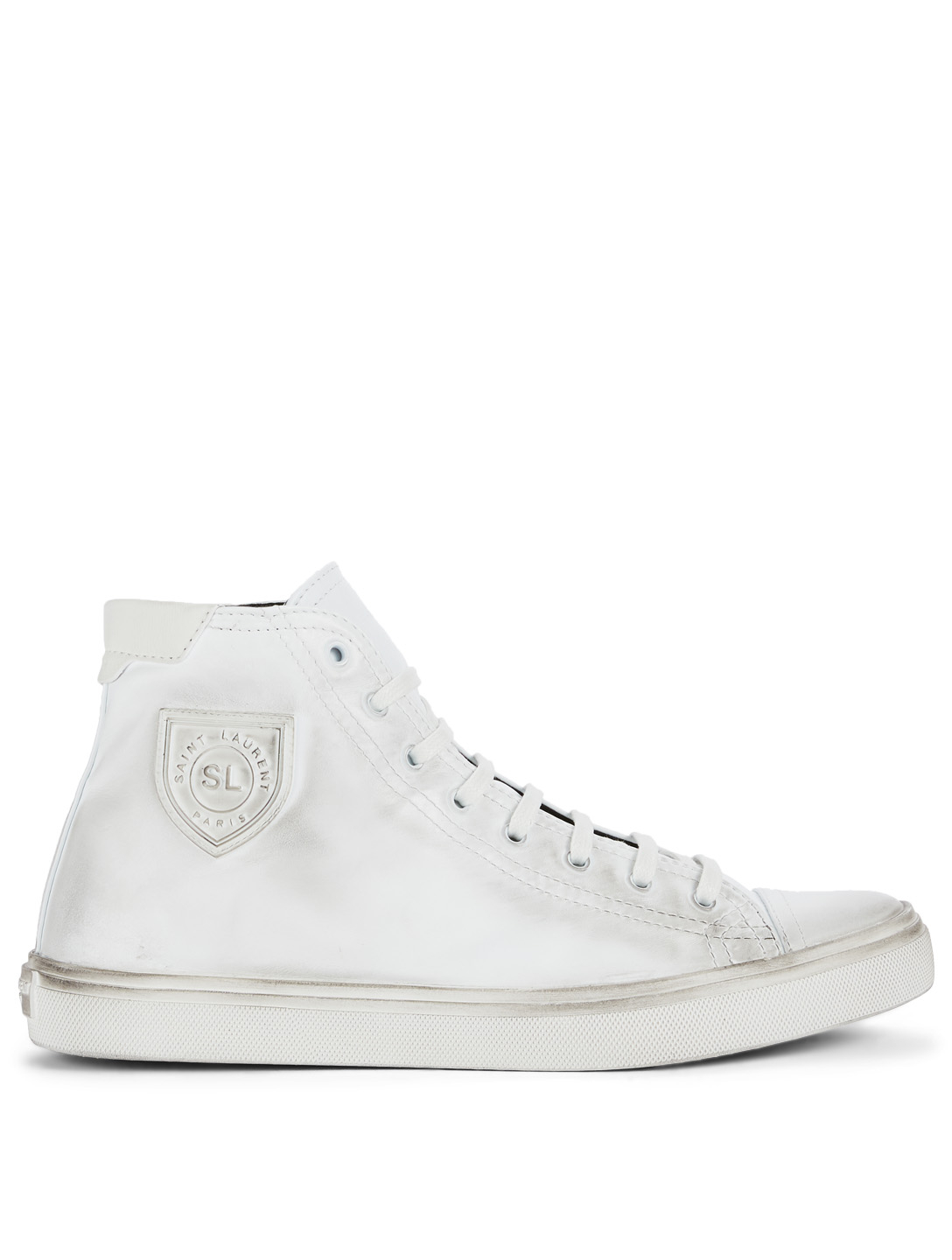SAINT LAURENT Bedford Leather High-Top Sneakers Men's White
