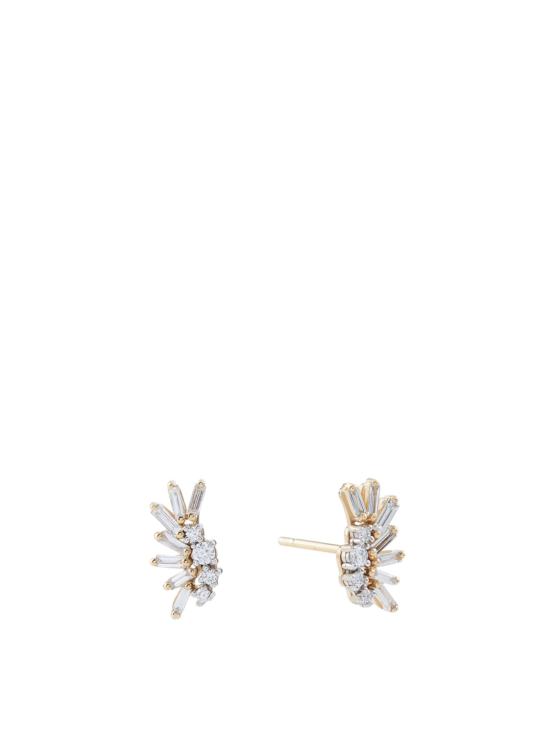 SUZANNE KALAN Small Fireworks 18K Yellow And White Gold Plume Earrings With Diamonds Women's Metallic