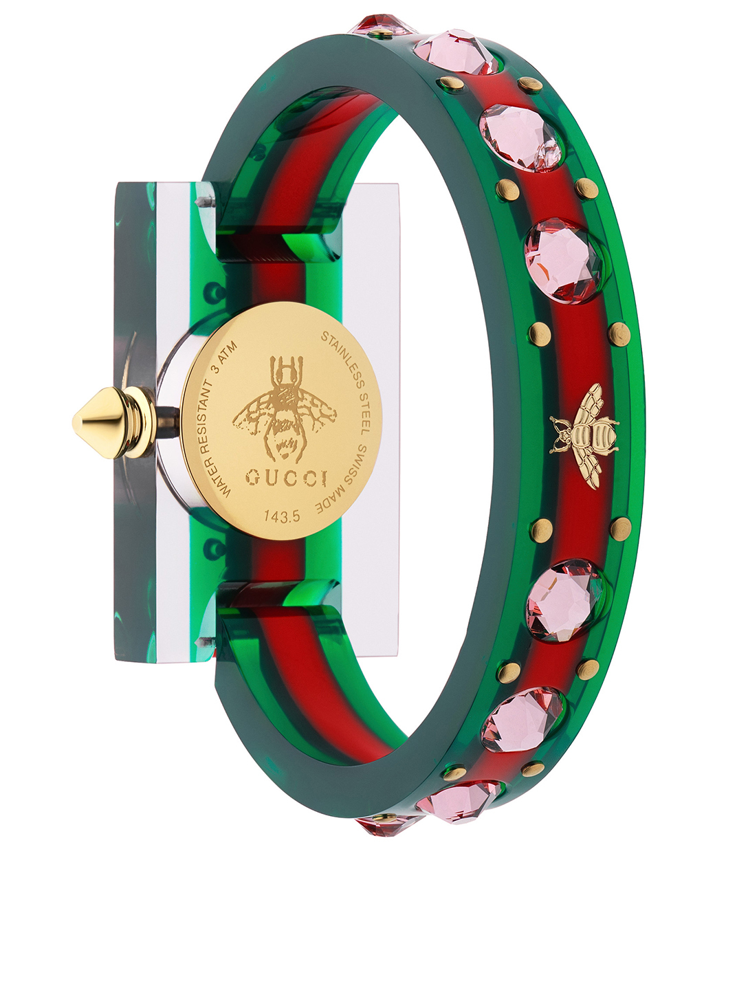 GUCCI G-Timeless Plexi Bangle Watch With Web Designers Multi