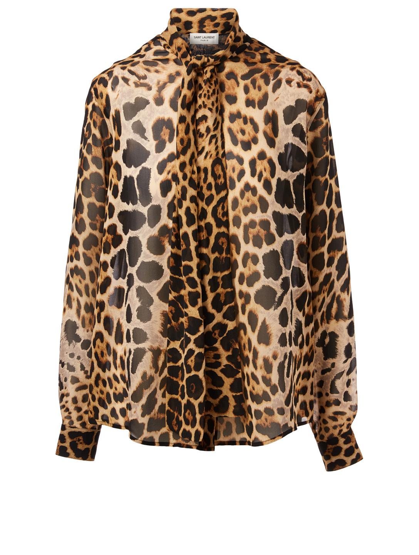 b8ccd04a542e SAINT LAURENT Silk Tie-Neck Blouse In Leopard Print Women's Multi ...