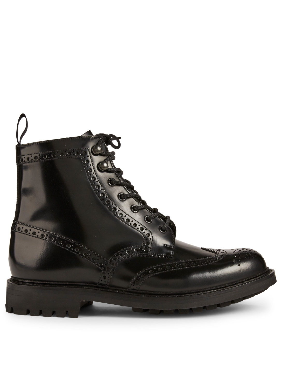 CHURCH'S Mac Farlane Patent Leather Brogue Lace-Up Boots Men's Black
