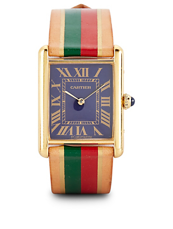 LA CALIFORNIENNE Large Cartier Tank Leather Strap Watch Women's Blue