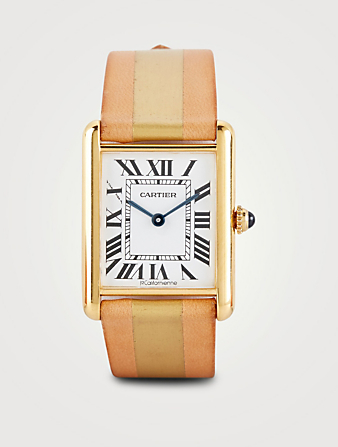 LA CALIFORNIENNE Large Cartier Tank Leather Strap Watch Womens Gold