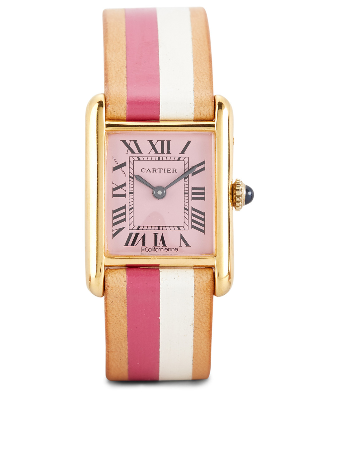 LA CALIFORNIENNE Small Cartier Tank Leather Strap Watch Womens Pink