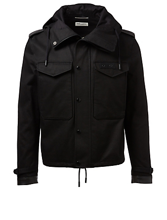 SAINT LAURENT Cotton Gabardine Short Parka Men's Black
