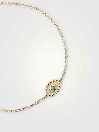 ANZIE Dew Drop 14K Gold Evil Eye Bracelet With Sleeping Beauty Turquoise Women's Gold