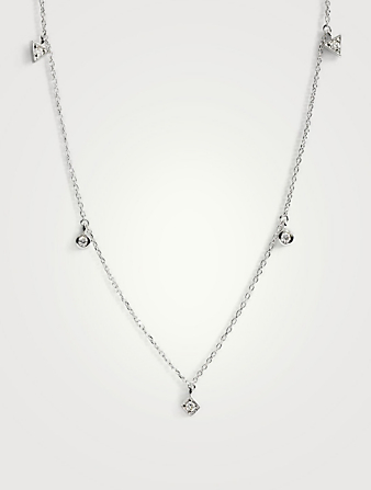 ANZIE Cléo Sterling Silver Floating Geometric Crew Necklace With White Sapphire Women's Silver
