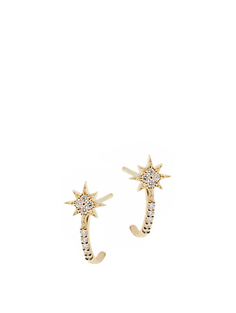ANZIE Aztec 14K Gold Micro North Star Half Hoop Earrings With Diamonds Women's Silver