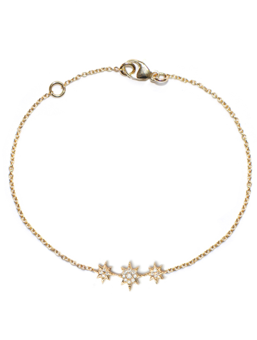 ANZIE Aztec 14K Gold North Star Mini Bar Bracelet With Diamonds Women's Silver