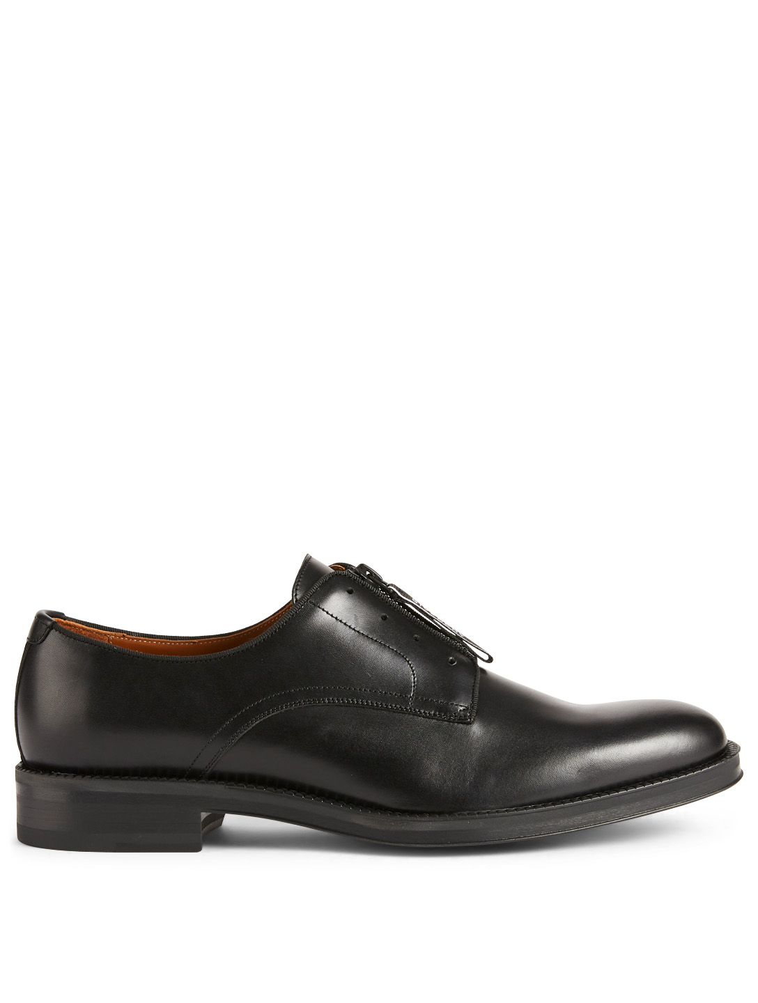 GIVENCHY Rider Leather Derby Shoes With Logo Zip Men's Black