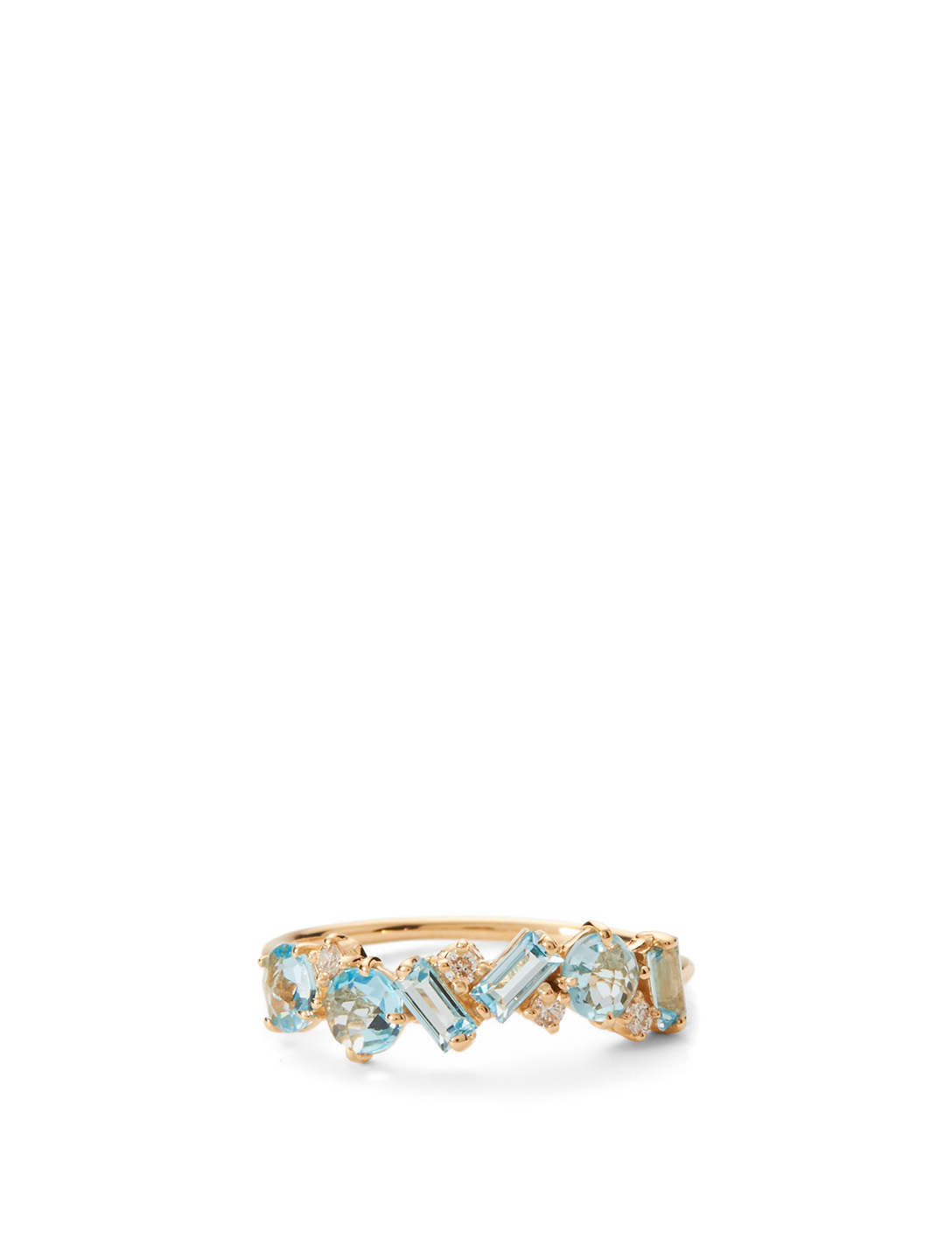 14 K Gold Mixed Amalfi Ring With Blue Topaz And Diamonds by Holt Renfrew