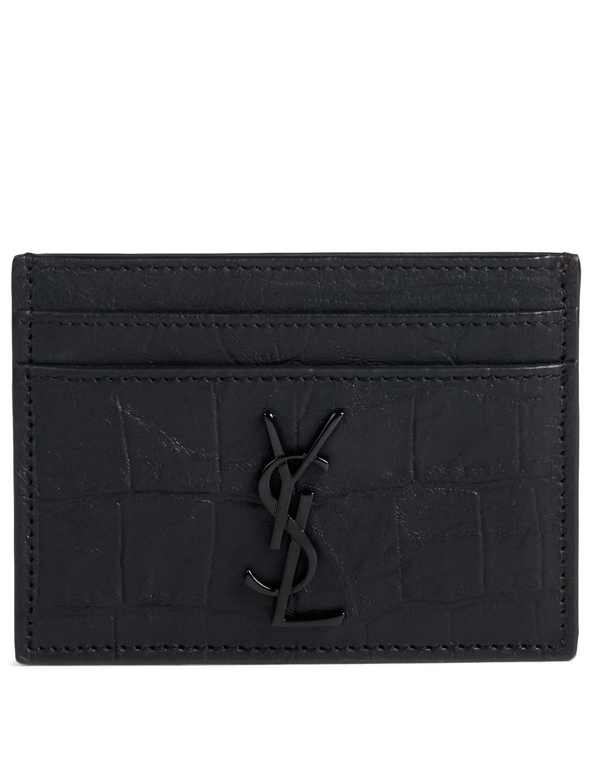 97fd3c629d7 SAINT LAURENT Monogram Croc-Embossed Leather Card Holder | Holt Renfrew