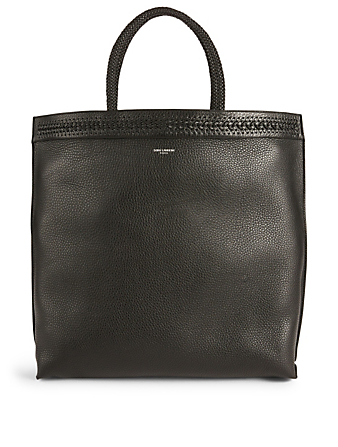 SAINT LAURENT Patti Leather Tote Bag Men's Black