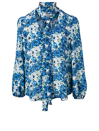 RIXO Moss Silk Neck-Tie Blouse In Diana Floral Print Women's Blue