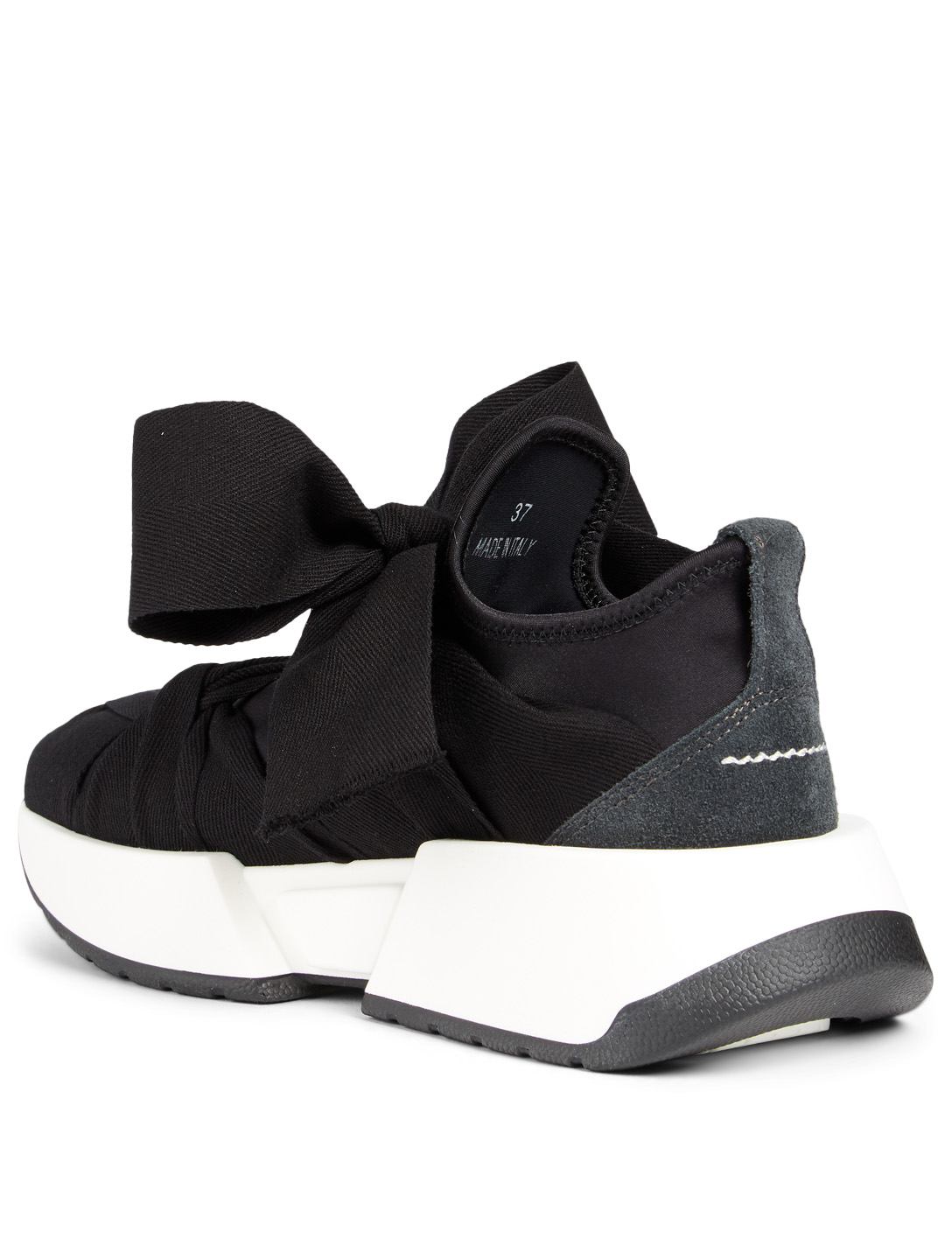 MM6 Bow Ties Neoprene Sneakers Designers Black