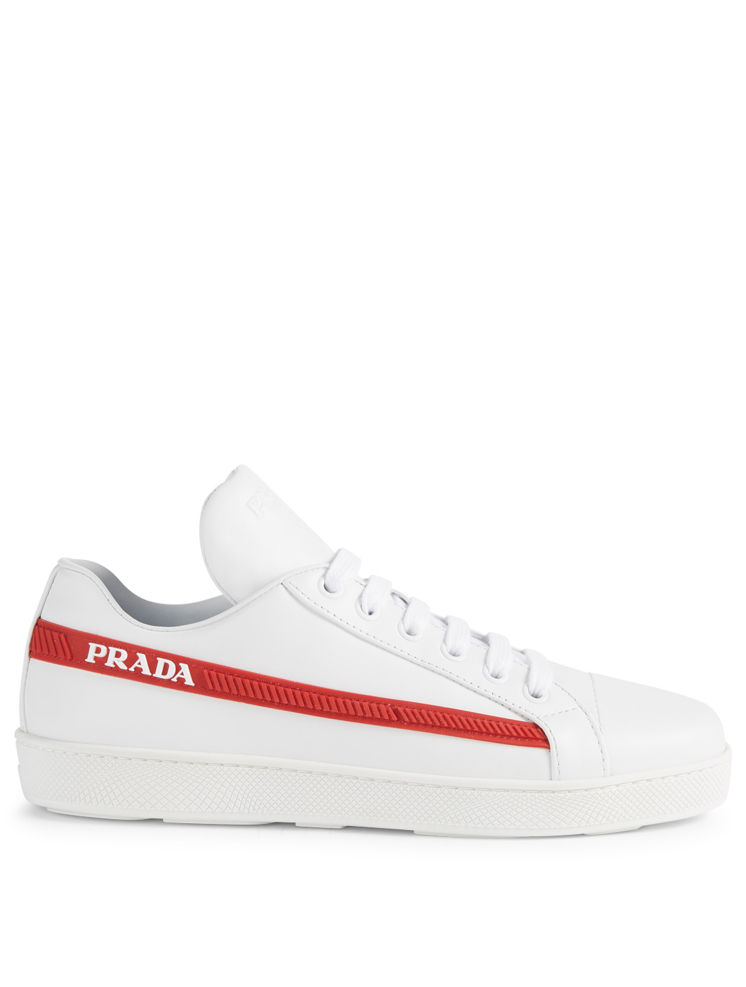 PRADA Leather Sneakers With Logo Stripe Womens White