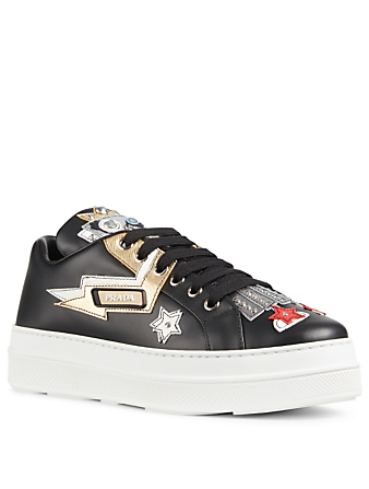 PRADA Robot Leather Sneakers Womens Black
