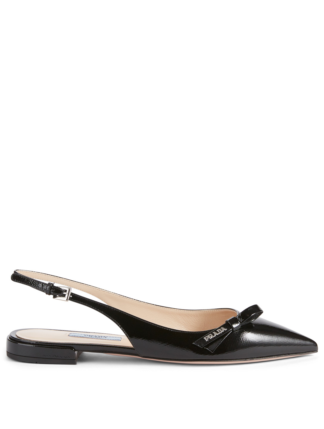 PRADA Patent Leather Slingback Flats Womens Black