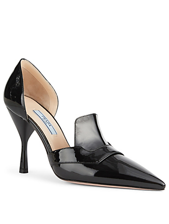 PRADA Patent Leather d'Orsay Pumps Womens Black