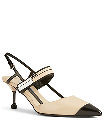 PRADA Logo Leather Slingback Pumps Womens Neutral
