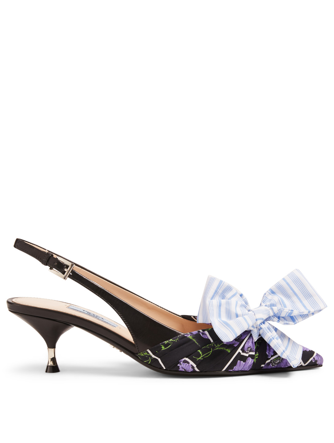 PRADA Floral Slingback Pumps With Striped Bow Designers Black