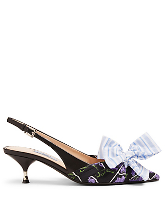 PRADA Floral Slingback Pumps With Striped Bow Womens Black